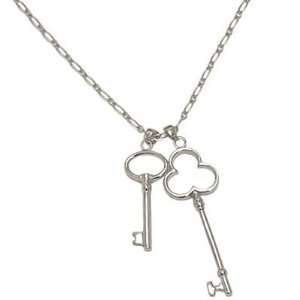 Silver Double Key Pendant Necklace Fashion Jewelry Jewelry