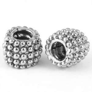 9mm Beaded Barrel Large Hole Bead   Rhodium Plated Jewelry
