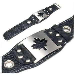 Stainless Steel Maple Leaf Black Leather Bracelet Jewelry