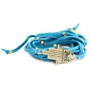 Ettika Turquoise Color Leather Wrap Bracelet with Gold Colored Hamsa