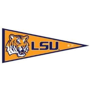 LSU TIGERS OFFICIAL LOGO PENNANT BUTTON BUMPER STICKER SET: