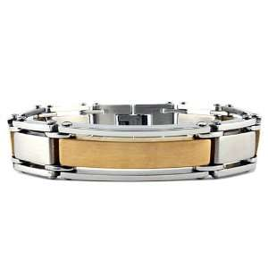 Stainless Steel Mens Bracelet with Gold Plating (15mm