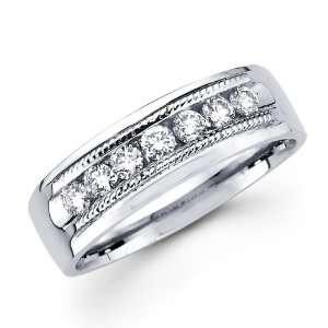 Mens Diamond Wedding Band 14k White Gold Milgrain Ring (1