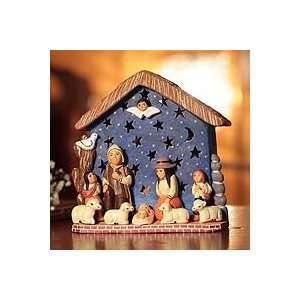 NOVICA Ceramic nativity scene, Christmas with a Cherub