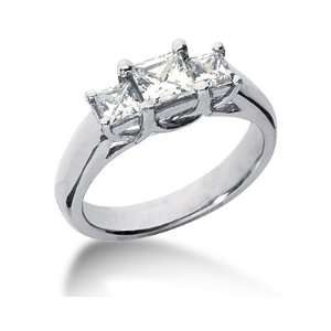 Three Stone Princess Cut Diamond Ring in Platinum SZUL Jewelry