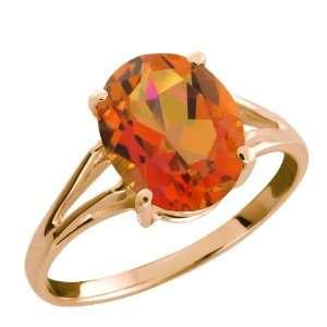50 Ct Twilight Orange Oval Mystic Quartz Rose Gold Plated Silver Ring