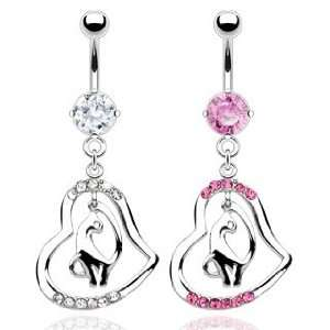 Pink Cubic Zirconia Belly Ring with Pave Gem Heart with