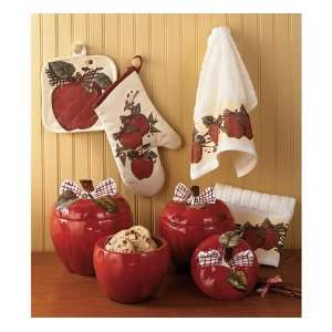 3pc tin star canister set country primitive home kitchen for Apples decoration for kitchen