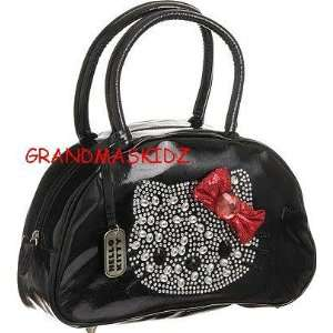 Hello Kitty Black Purse Red Bow Rhinestones Handbag