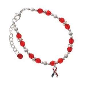 Ribbon Red Czech Glass Beaded Charm Bracelet [Jewelry] Jewelry