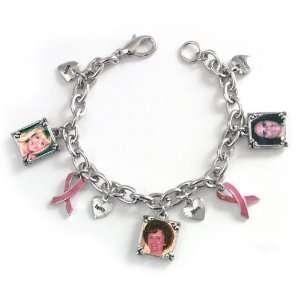 Breast Cancer Awareness Pink Ribbon Photo Bracelet
