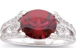 Red Rhodolite Garnet Ring   Fancy Diamond Encrusted Band(4.5) Jewelry