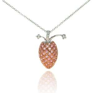 in Rose Gold & Pink CZ Sterling Silver Necklace