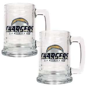 San Diego Chargers NFL 2pc 15oz Glass Tankard Set  Primary Logo