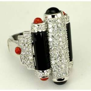 Large Sterling Silver 925 Clear CZ Red and Black Ring, 6