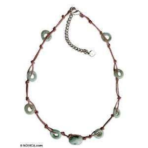 Green Jade Beaded Choker Necklace, Harmonious Life 0.8
