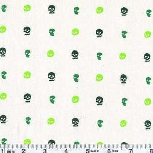 58 Wide Cotton Jersey Micro Skull Green/White Fabric By