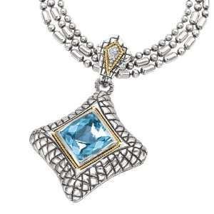 Silver & Blue Topaz Square Checkerboard Pendant with 18k Gold Accents