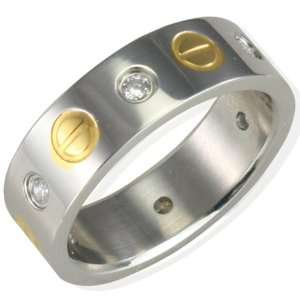 Mens Stainless Steel Cubic Zirconia and Gold Screw Design
