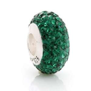 925 Sterling Silver Round Emerald Green Cz Crystal Charm
