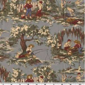 45 Wide Storybook Tom Sawyer Toile Cadet Fabric By The