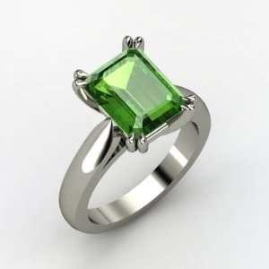Emerald Cut Green Tourmaline Ring in 14K White Gold Jewelry