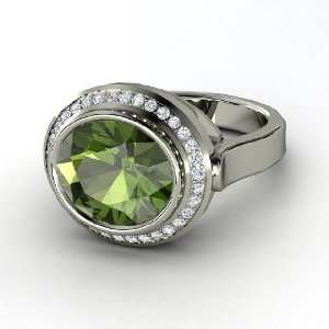Racetrack Ring, Oval Green Tourmaline 14K White Gold Ring