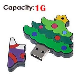 Rubber USB Flash Drive with Christmas Tree Shape (Small) Electronics