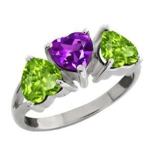 40 Ct Heart Shape Purple Amethyst and Green Peridot Sterling Silver