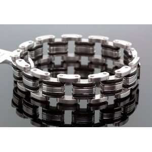 Mens Stainless Steel / Rubber Double Row Biker Bracelet 8.5 Jewelry