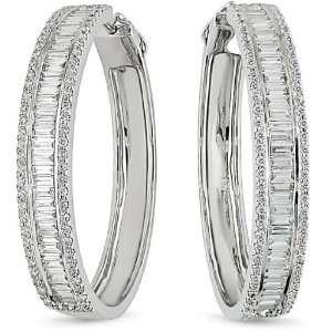 18k White Gold 3.90ct TDW Diamond Hoop Earrings Jewelry