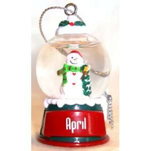 April Christmas Snowman Snow Globe Name Ornament