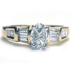 .80 ct Oval/Trillion Diamond Engagement Ring 14k gold