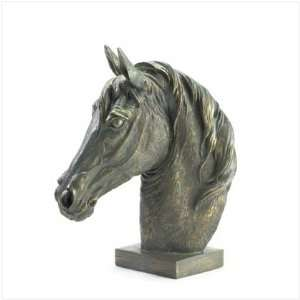 BRONZE FINISH HORSE HEAD BUST