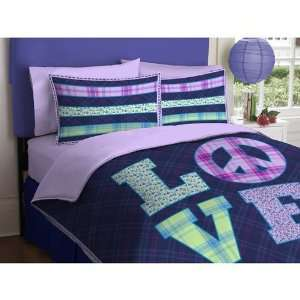 Girl Purple Green Love Peace Sign Twin Comforter Set (2pc Set)