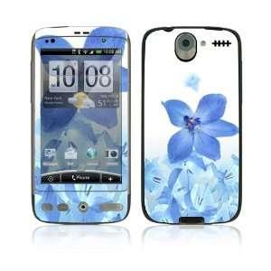 HTC Desire Skin Decal Sticker   Blue Neon Flower