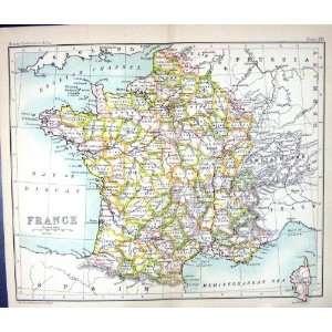 ANTIQUE MAP c1901 FRANCE HAVRE PARIS MEDITERRANEAN CORSICA