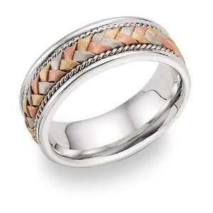14K Tri Color Gold Braided Wedding Band Ring Jewelry