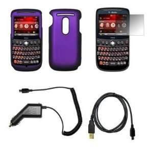 Purple Snap On Cover Hard Case Cell Phone Protector + LCD