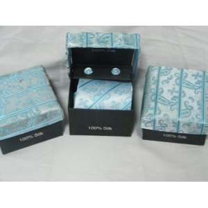 Mens Silk Necktie (Gift Set)  Teal and Sky Blue Stripe pattern and