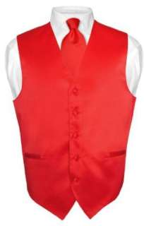 Mens RED Dress Vest and NeckTie Set for Suit or Tuxedo