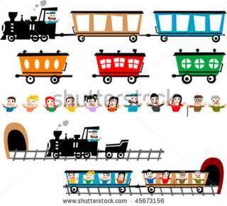 Train And Wagon Alternatives With Different Cartoon Characters Stock