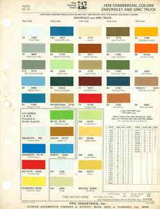 1976 Chevrolet GMC Truck Paint Color Chart 76 PPG LUV