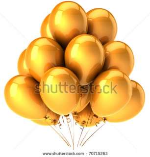 stock photo  Balloons golden. Glamour party concept. Modern birthday