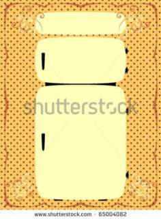 Vintage Refrigerator Illustration On A Decorative Background