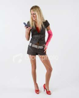 Beautiful blond girl text messaging Royalty Free Stock Photo