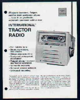 IH International Tractor Radio Brochure