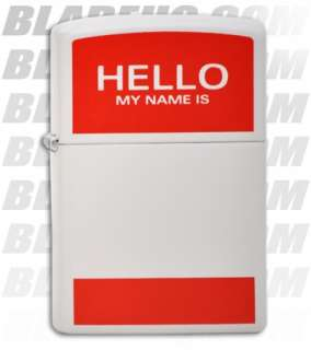 Zippo Lighter   Hello My Name Is   24809 Matte White   Blade HQ