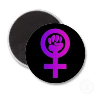 Brightly colored lavender and pink women power symbol. Fun & unique