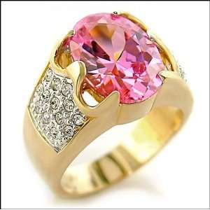 Jewelry   5 Carat Pink CZ Gold Tone Ring SZ 8 Jewelry